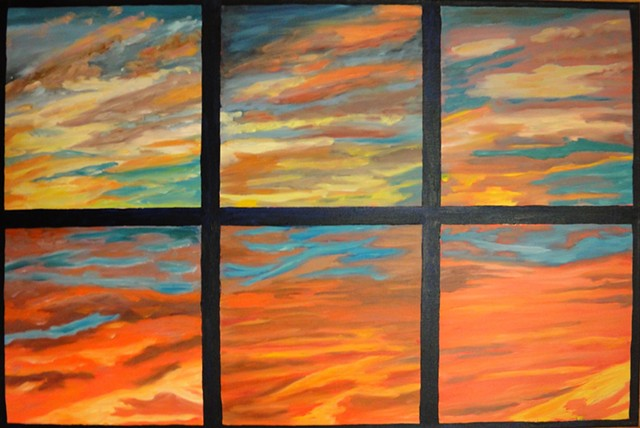 a separated by colored panes the painting dipicts stages of a bright sunset