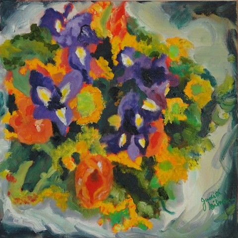 flowers gathered in paper, oranges, purples, greens, square foot
