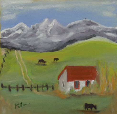 Peaceful, square foot, greens, blues, red, yellow, tranquil ranch scene