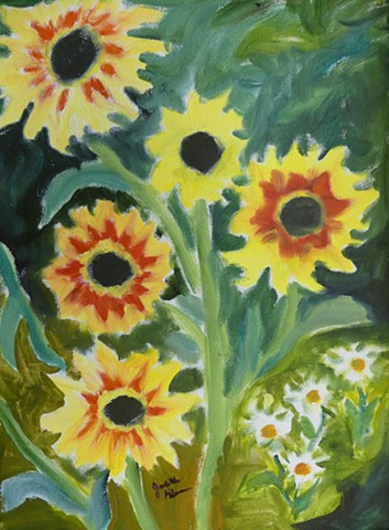 sun flowers, bright yellow, oranges, green, small white flowers