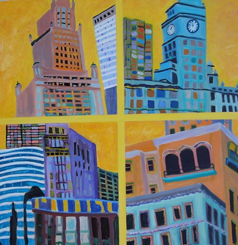 Striking colors convey the active nature of Chicago's spirit in four  frames, yellow, blues, tourquoise, purple, sand color, city scape