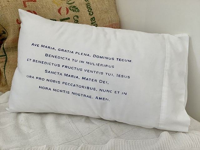 Traditional Latin Catholic Ave Maria pillowcase