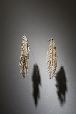 """From left to right:  Feather Frayed Raw Canvas 4""""x13""""  Gold Part Acrylic on Frayed Canvas 4""""x12"""""""