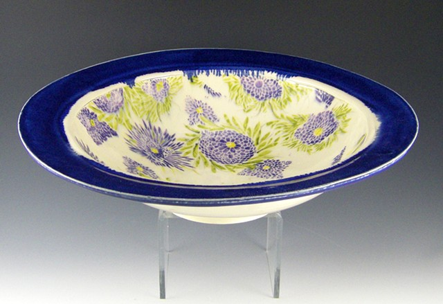 large lavendar blue mum bowl