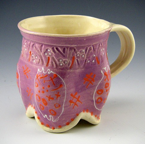 hand built and manipulated mug