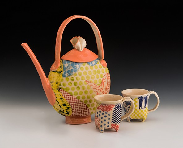 persimmon collaged tea set (pot plus four cups)