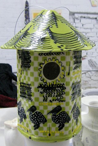 lime black and white birdhouse