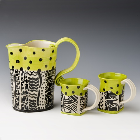 Af tex pitcher and cups, yellow and black
