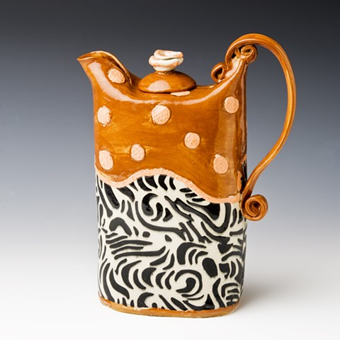 rust african tex design teapot