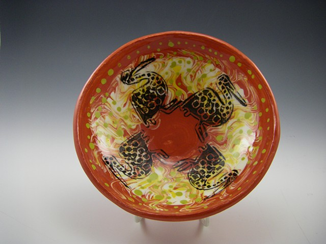 african bird bowl red, yellow and black