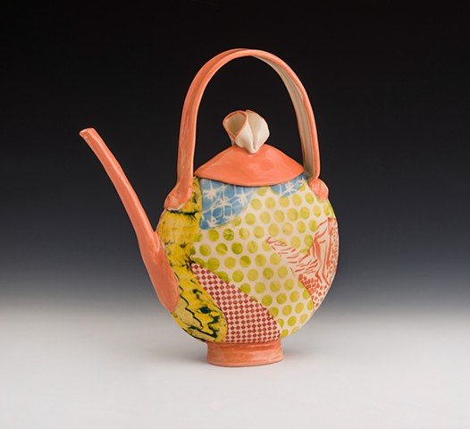 HB & T persimmon lentil collaged teapot
