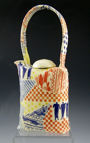 folded series teapot with collaged design