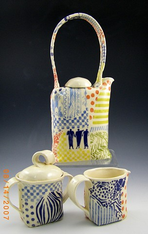 white stoneware teapot set, collaged ####