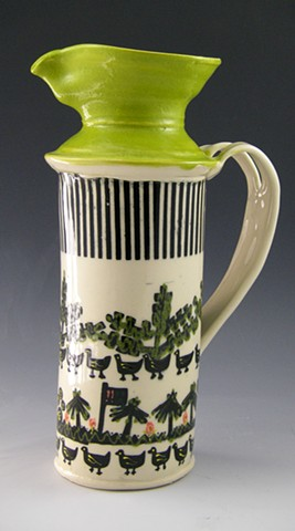 Asafo pitcher in limeand black