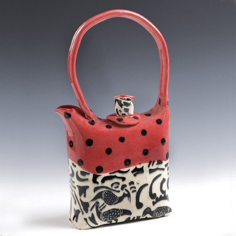 HB Red African textile design teapot
