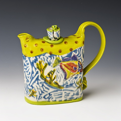 Af tex beach series teapot, yellow and blue