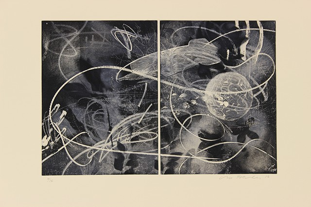 Crossing Over, Etching, 2016, printed at Cicada Press, Sydney Australia, with Michael Kempson