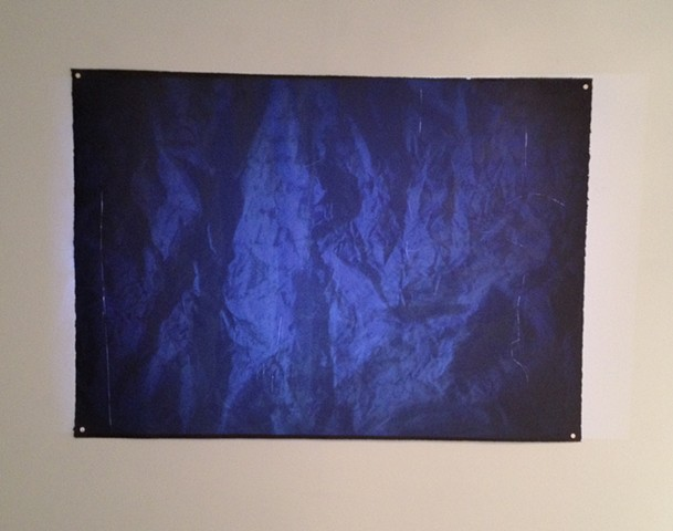 Search, two colour lithograph with video projection