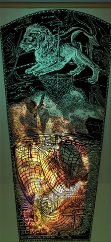 Ghost Ship detail, woodcut with digital video projection and rear lighting