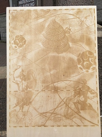 laser etched Birch woodblock 2020