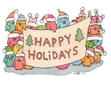 Christmas card, birds, cartoon, watercolor, fun, colorful, ink, cute
