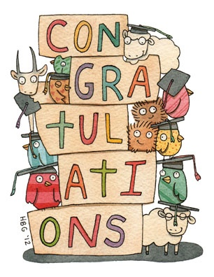 Congratulations card, graduation, goat, porcupine, sheep, birds, cartoon, watercolor, fun, colorful, ink, cute