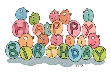 Birthday card, birds, cartoon, watercolor, fun, colorful, ink, cute