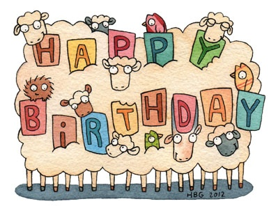 Birthday card, sheep, birds, porcupine, goat, cartoon, watercolor, fun, colorful, ink, cute