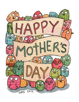 Mother's day card, paterns, birds, cartoon, watercolor, fun, colorful, ink, cute