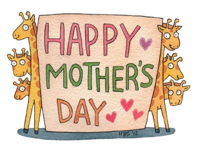 Mother's day card, giraffes, cartoon, watercolor, fun, colorful, ink, cute, hearts