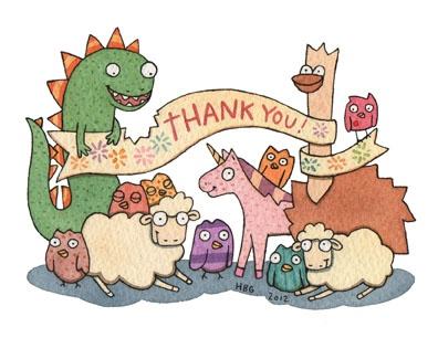 Thank you card, sheep, birds, ostrich, unicorn, dino, cartoon, watercolor, fun, colorful, ink, cute