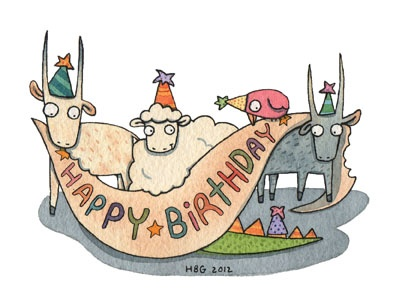 Birthday card, goat, dino, sheep, birds, cartoon, watercolor, fun, colorful, ink, cute