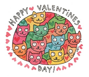 Valentine, cats, kittens, hearts, cute, pink, watercolor, colorful, kids, fun, ink, cartoon
