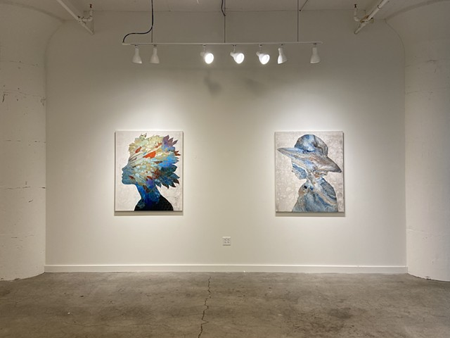 "Installation of ""Born to Bloom VII"" and ""Splash Silhouette"""