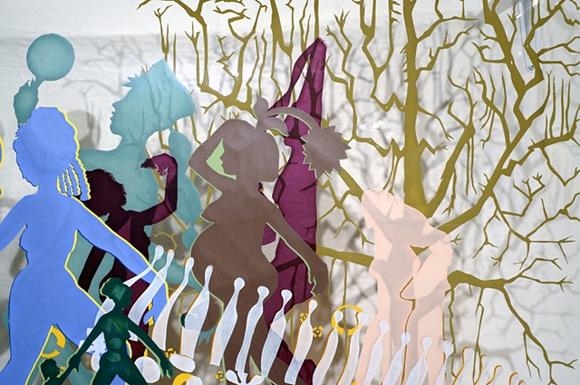 A mass of figures silk screened on plastic. Hanging seven inches from the wall in a curtain like fashion to create a play between the printed figures and their shadows.