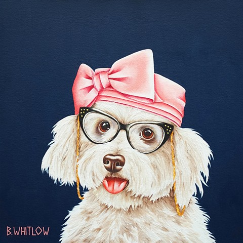 Whimsical rescue pet dog oil portrait