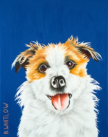 Jack Russell Terrier JRT whimsical oil painting pet portrait dog portrait