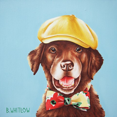 Chesapeake Bay Retriever whimsical oil painting pet portrait dog portrait