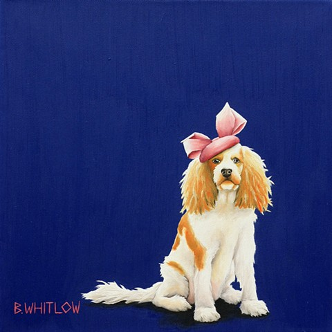 """I'm like a cupcake.  Everyone loves me!"" - Liebe.  Whimsical Cavalier Spaniel mix pet dog portrait by Beth Whitlow."