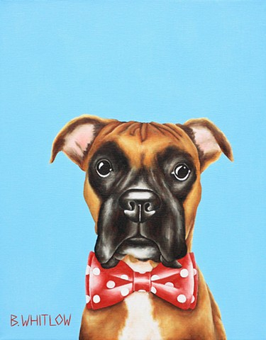 Whimsical boxer pet dog oil portrait