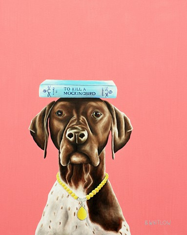 """I thought this was a manual."" - EmmyLou.  Whimsical Bird Dog Pointer Pet Portrait by Beth Whitlow"
