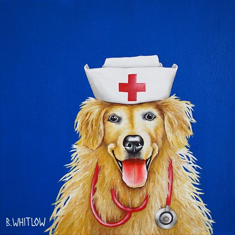 Whimsical golden retriever pet dog oil portrait