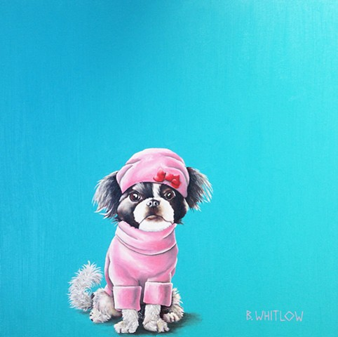 """When they told me I was going to be a Rispoli, I was like 'Molto Bene!'"" - Lilly.  Whimsical Rescue Dog Pet Portrait by Beth Whitlow"
