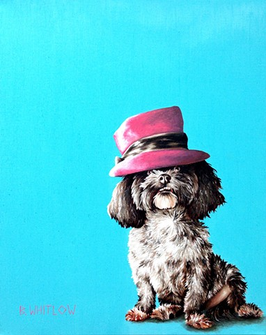 """Give a girl the right hat, and she can conquer the world.""- Gigi. Original pet portrait by Beth Whitlow"