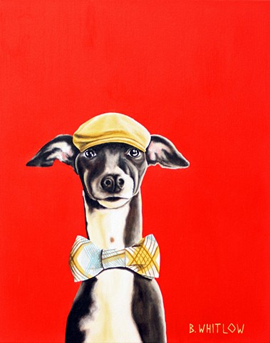 custom pet portrait, Italian greyhound