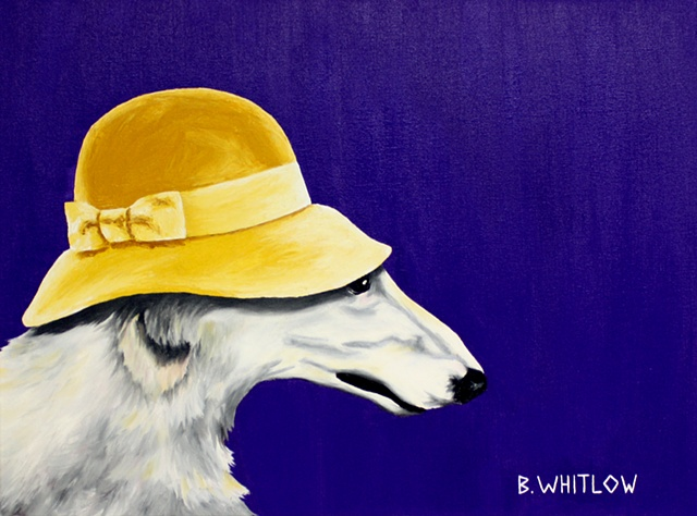 Dog Art, Pet Portrait, Borzoi, Whimsical, Fascinator