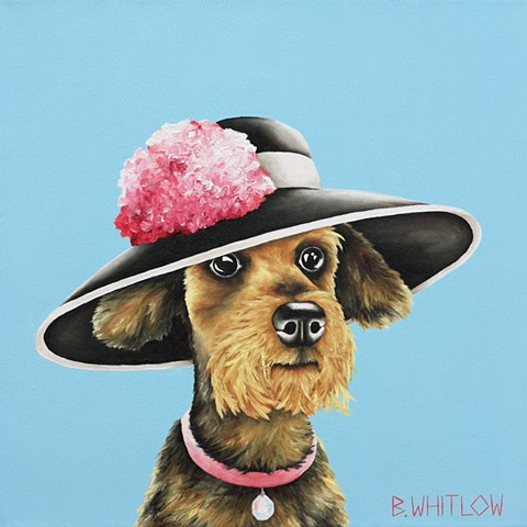 "Whimsical Yorkie Yorkshire Terrier Dog Portrait Pet Portrait Oil Painting titled ""I simply can't watch reality tv - it's just absurd those people got a show before me."" - Tinkerbell"