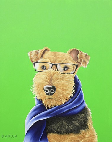 """This scarf may or may not have belonged to the neighbor kid.  Stay out of my yard!"" - Case.  Whimsical Airedale Pet Portrait by Beth Whitlow"