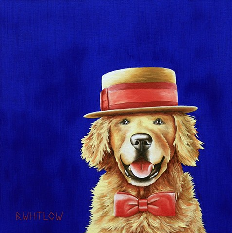 """I try to make a new friend every day!"" - Brewski  Whimsical Golden Retriever Pet Portrait by Beth Whitlow"