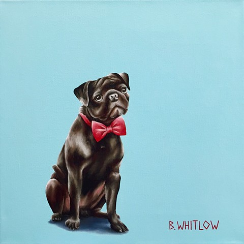 Whimsical pug pet dog oil portrait